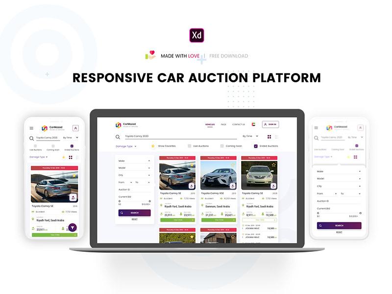 汽车拍卖网站页面设计模板插图