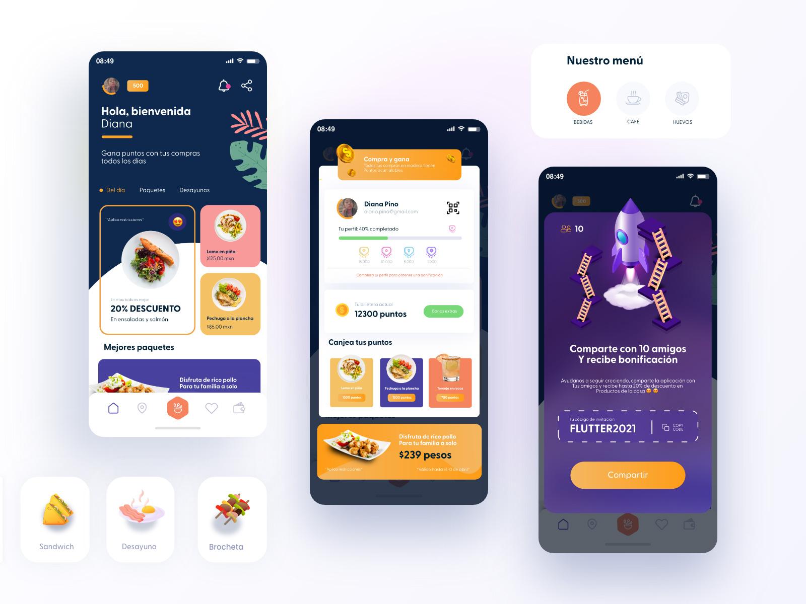餐厅折扣优惠应用用户界面设计模板插图