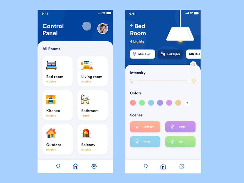 智能家居灯光控制App应用程序界面设计套件插图