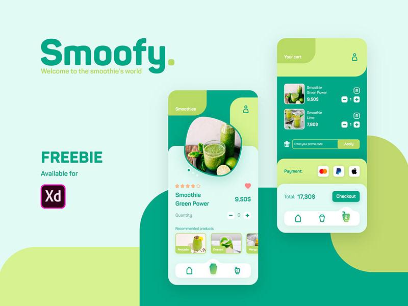 冰沙饮品店App应用程序界面设计模板插图