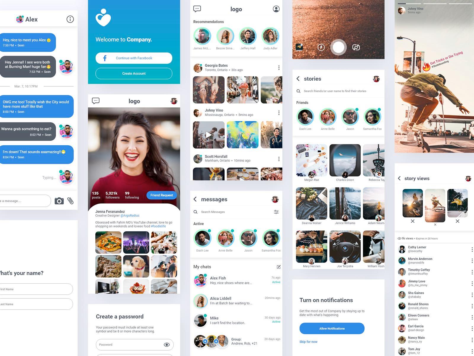 免费社交媒体APP用户界面套件插图