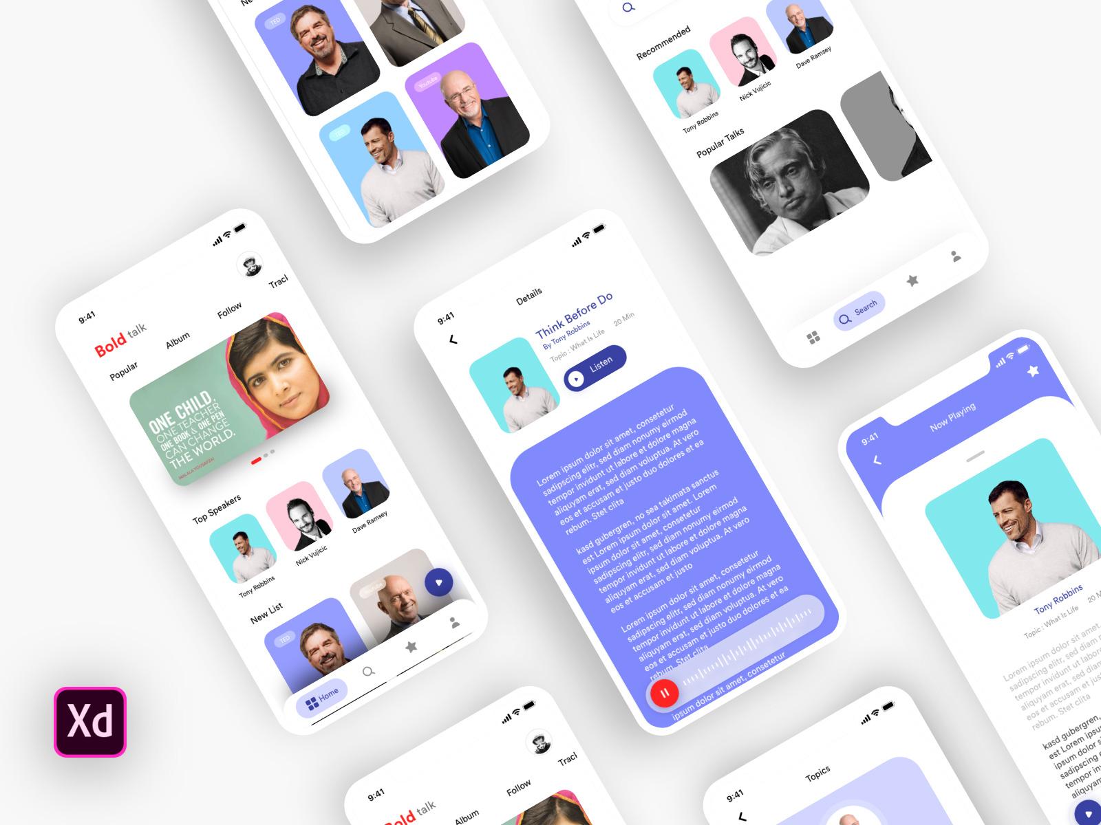 励志演讲者App应用程序UI/UX设计套件插图