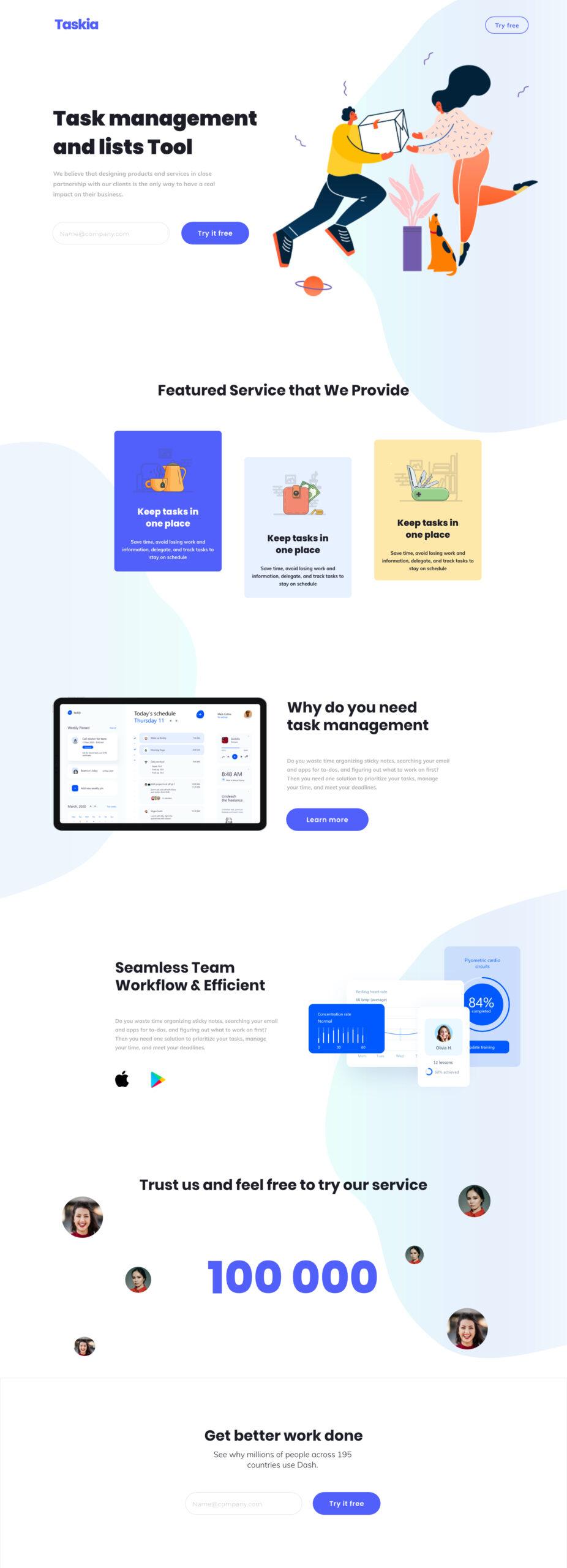 Taskia-免费概念插画网站着陆页设计模板插图