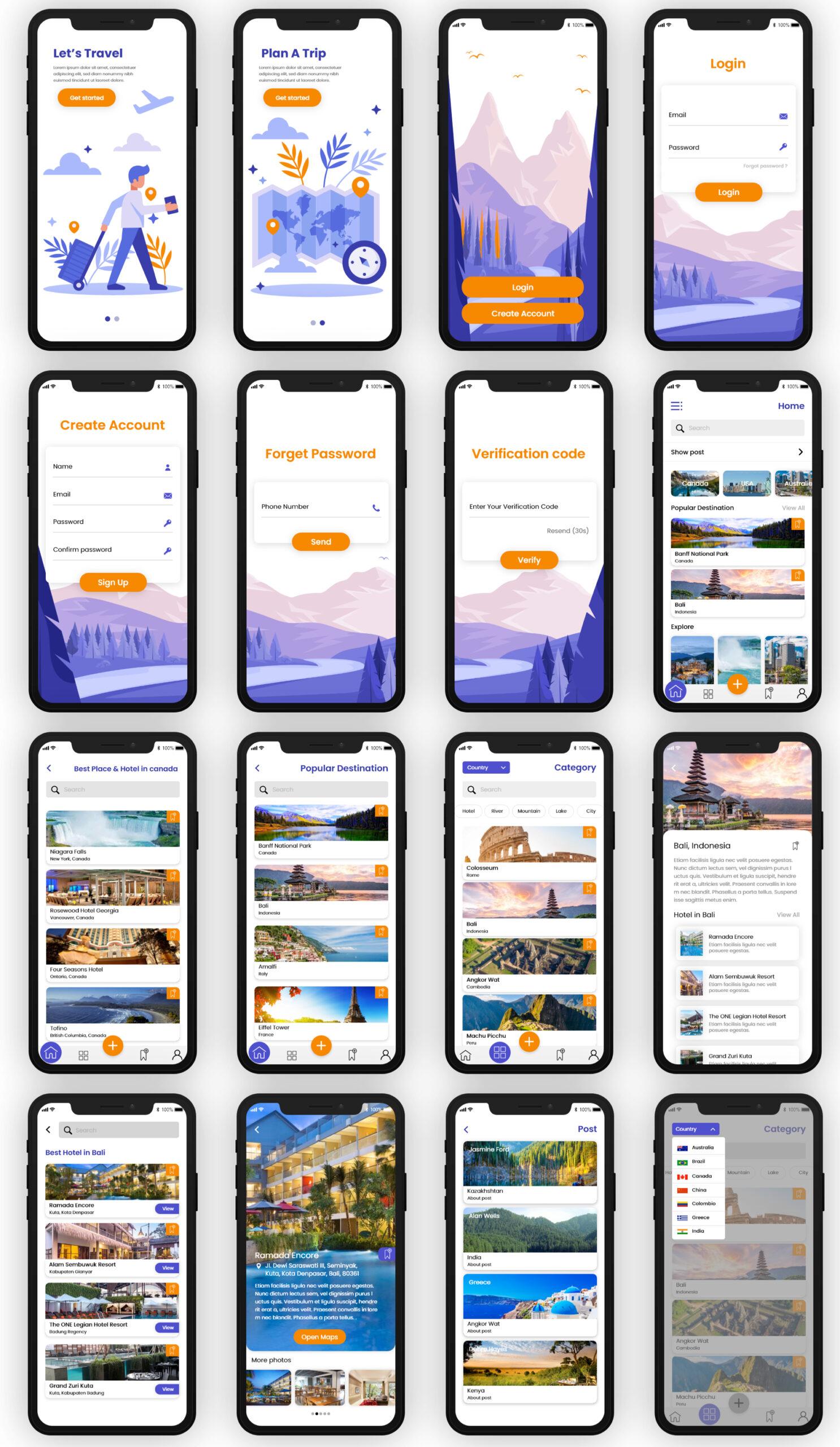 旅游APP应用程序用户界面套件插图1