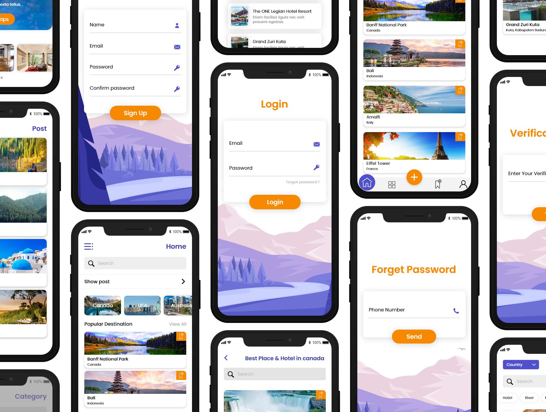 旅游APP应用程序用户界面套件插图