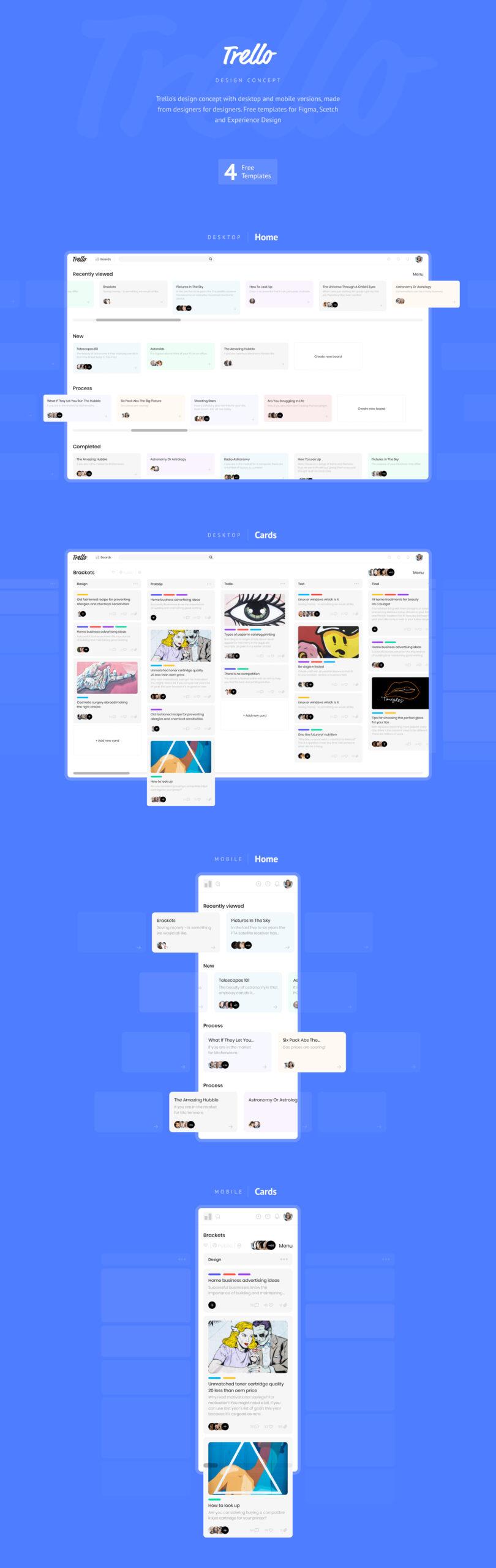 Trello概念设计移动端&桌面端UI设计套件 Trello Design Concept插图