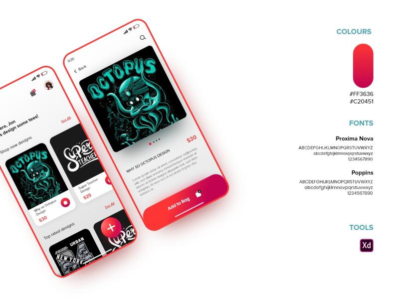 T恤设计商店应用程序概念模板插图2