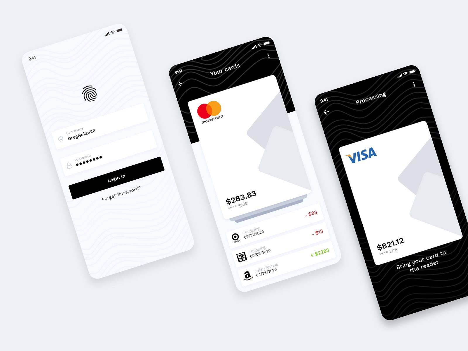 手机钱包应用程序界面设计套件插图